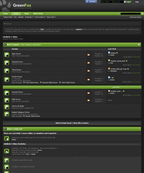 vbulletin themes colors greenfox 4 x vbulletin theme