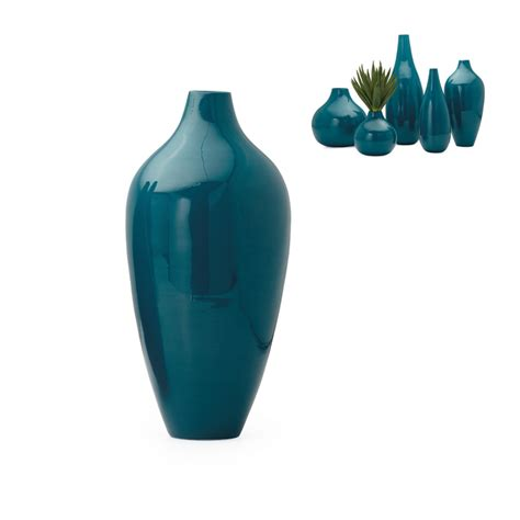 Teal Vase by Juno Lacquer Bamboo Tapered Vase Teal Modern Wood Lacquered Vase