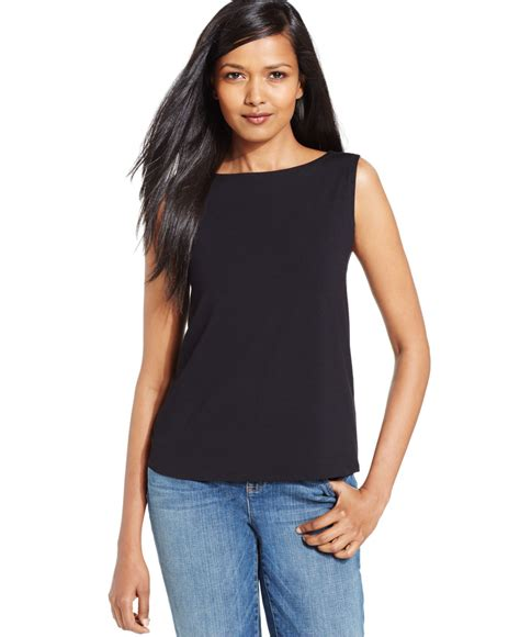 boat neck black top uk eileen fisher boat neck sleeveless top in black lyst