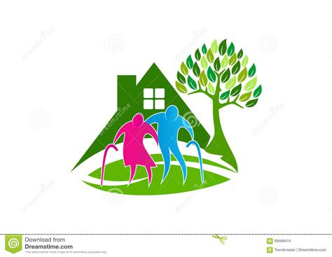 nursing home design concepts senior care logo elder people symbol icon healthy