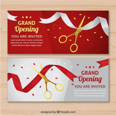 invitation card design for grand opening elegant opening invitation with realistic style vector