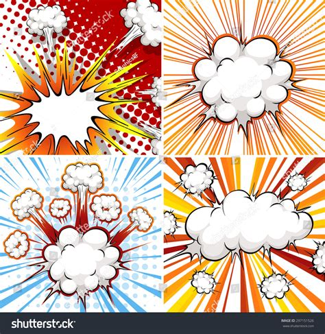 explosion template in four different designs stock vector