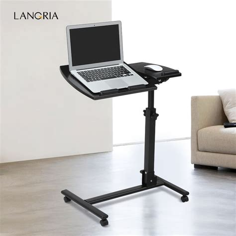 mobile laptop computer desk portable rolling mobile laptop side table cart adjustable computer desk stand uk ebay