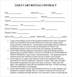 Golf Car Rental Agreement Sle Rental Contract Template 7 Free Documents