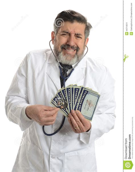 Doctorate In Security by Worried Doctor With Social Security Cards Stock Photo