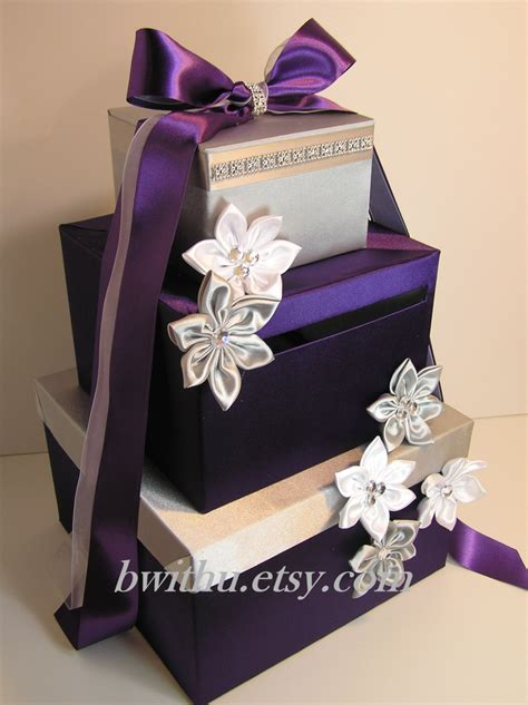 Wedding Gift Box For Money by Wedding Card Box Purple And Silver Gift Card Box Money Box