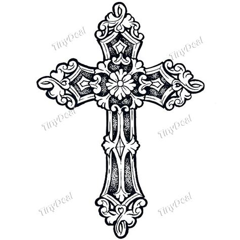 fancy cross tattoo waterproof cross pattern temporary stickers l