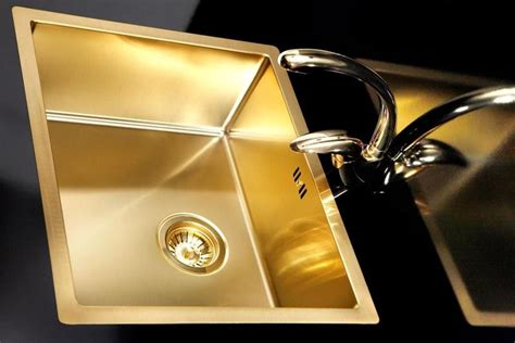 Gold / Brass kitchen sink, stainless steel, flushmount