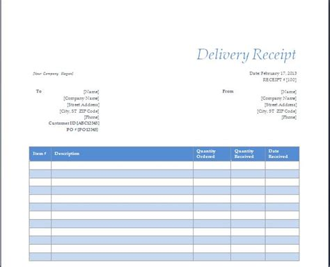 delivery receipt template delivery receipt template free layout format