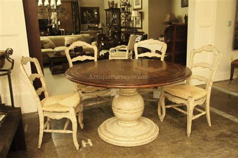 Oval Back Dining Room Chairs by Round Country Wood Table And Painted Pedestal Base For Kitchen