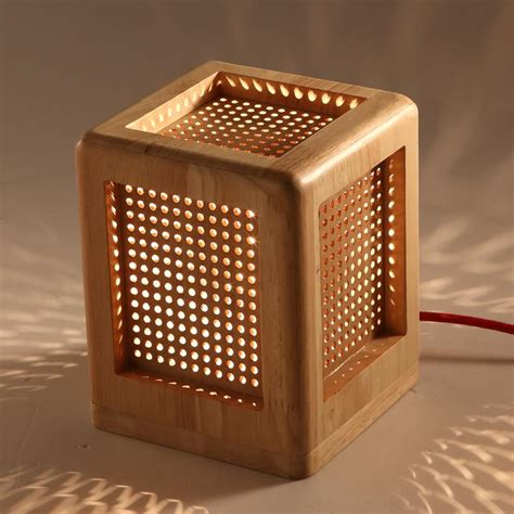 creative fashion square wooden desk lamp perforated