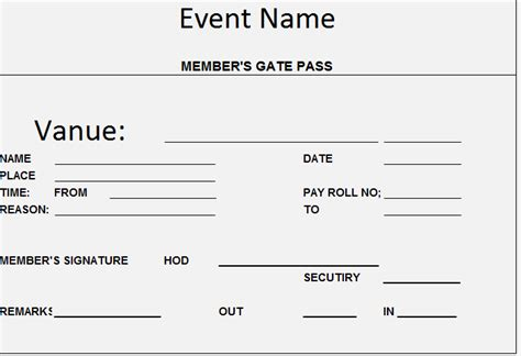 visitor pass template free gate pass for goods template formats sle