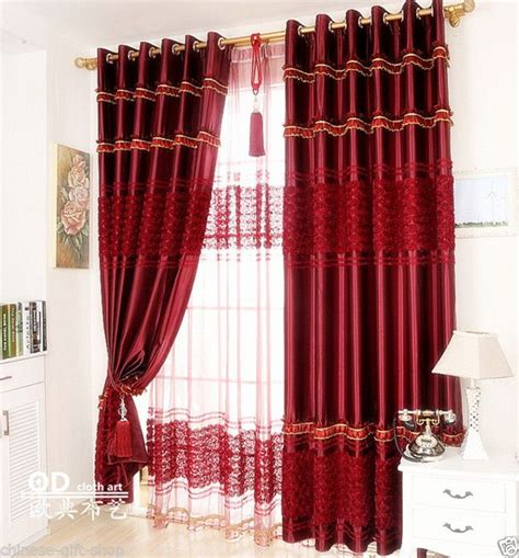red rose curtains details about customize 3d red rose curtain set double
