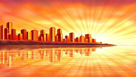 big sunset city  water stock vector illustration