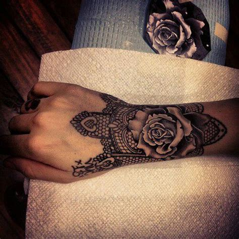black rose lace tattoo black and white wrist and interesting