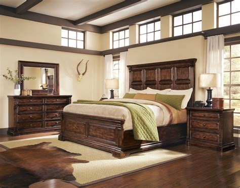 Wood Bedroom Sets Whiskey Oak Rustic Inspired Wooden Panel Bedroom Set 205000