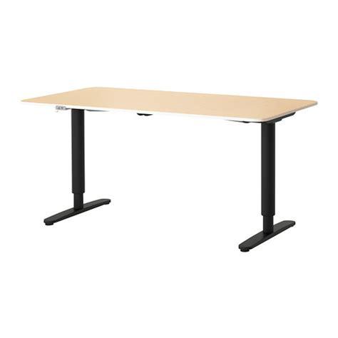 schreibtische 160x80 bekant desk sit stand birch veneer black ikea