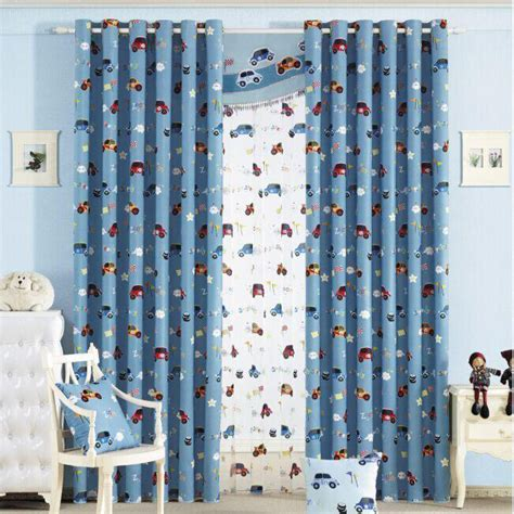 Custom Blue Cartoon Car Boys Room Nursery Curtains Curtains For Boy Nursery