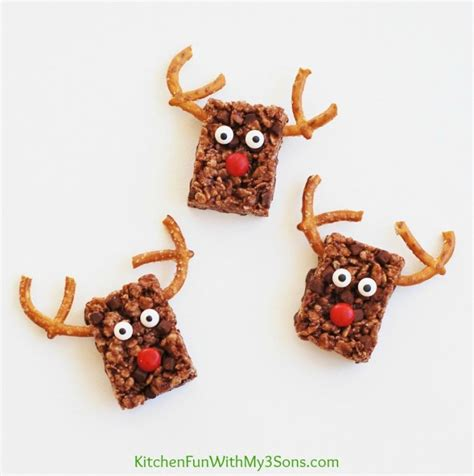 easy reindeer chocolate rice krispie treats for christmas kitchen fun with my 3 sons