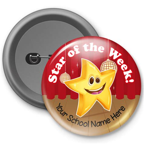 printable star of the week badge star of the week customized button badge