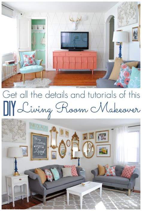 diy living room makeover coral and mint living room reveal clutter
