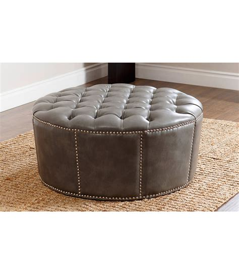 Ottomans & Benches : Newport Leather Ottoman, Grey