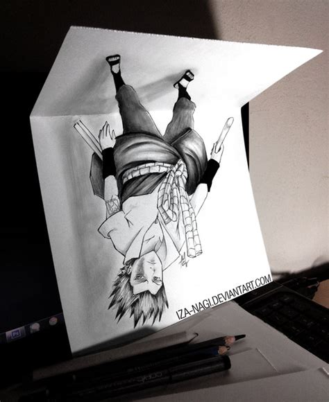 How To Make 3d Drawings On Paper - new type of 3d drawing on paper suspended sasuke by iza