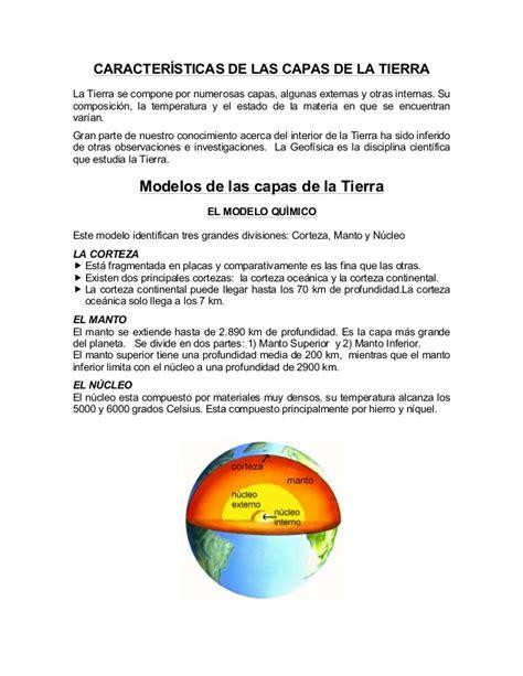 Resumen Y Sus Caracteristicas resumen caracter 237 sticas de las capas de la tierra