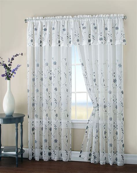 Sheer Curtains With Attached Valance Malta Two Floral Embroidery Matte Sheer Window Curtain W Valance 108 Quot 84 Quot