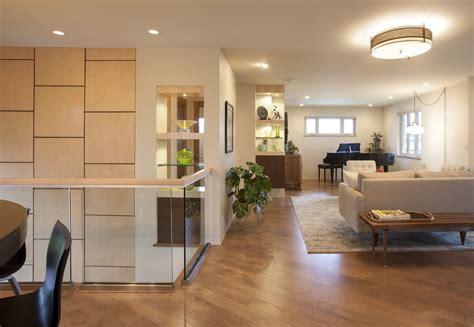 Open Plan Kitchen Hallway by Denver Split Level Howard Interior Design