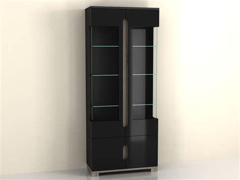 Black Glass Door Cabinet Lorenz High Gloss Black Display Cabinet 2 Glass Door P980ls 02 Furniturefactor