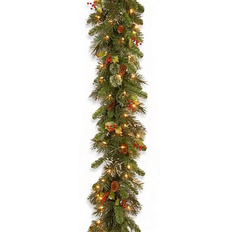 national tree company wintry pine pre lit garland with