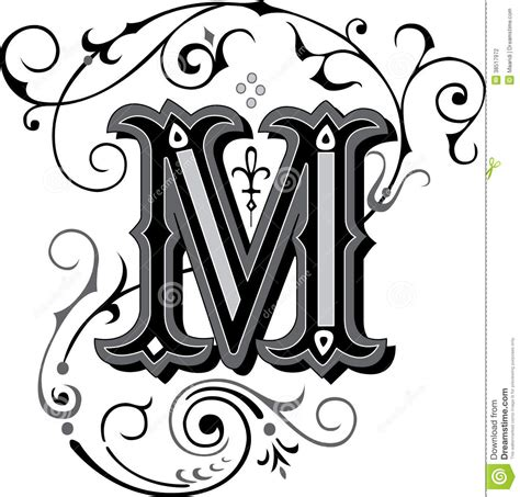 beautiful ornament letter m stock photography image