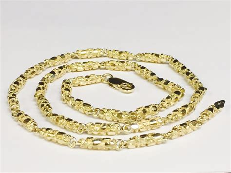 Handmade Gold Chains - 10kt solid gold heavy handmade nugget link chain necklace