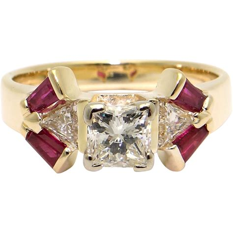 unique 14k yellow gold 1 40ct princess cut ruby