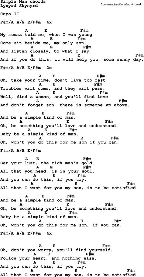 Guitar Chords For Simple Man