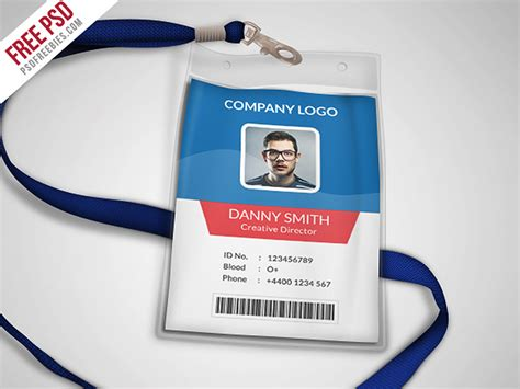 company id badge template multipurpose company id card free psd template by psd