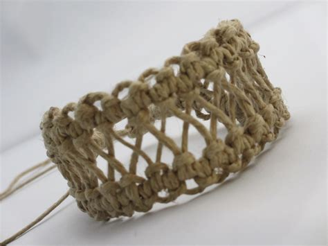 Hemp Knots Patterns - hemp bracelet cuff in x pattern