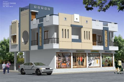Two Storey House Floor Plan residential cum commercial design by rachana architect