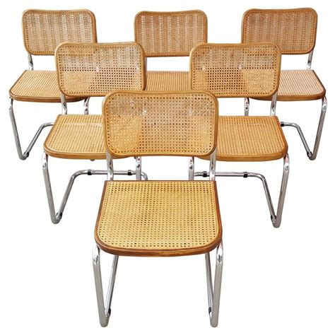 Marcel breuer quot cesca quot tubular chrome steel and cane dining chairs at 1stdibs