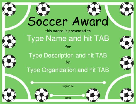 soccer certificate template professional and high quality templates
