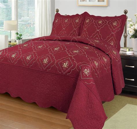 red coverlet solid red floral embroidery 3 piece quilt set coverlet