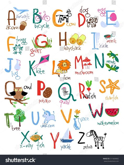 Letters And Words Alphabet Words Icons Vector Stock Vector