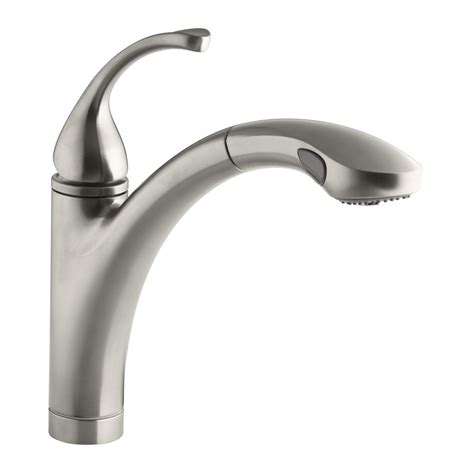 shop kohler forte vibrant stainless 1 handle pull out kitchen faucet at lowes com