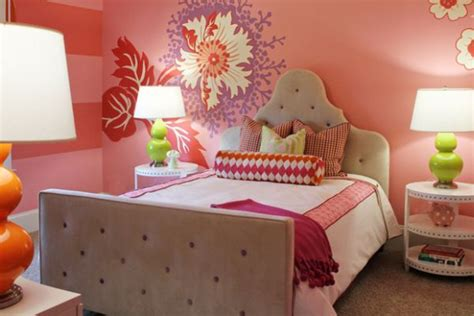 teenage girls bedroom decor decoist flower mural perfectly blends pink red purple and green