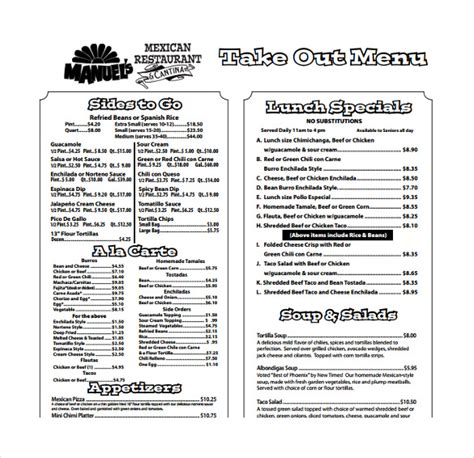 Togo Menu Templates 20 take out menu templates free sle exle format