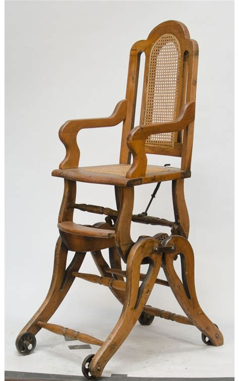 antique wooden combination baby s high chair rocker