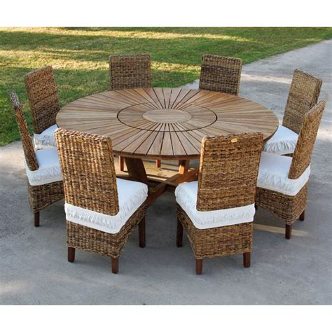 Table Ronde Exterieur grande table ronde de jardin en teak massif real table