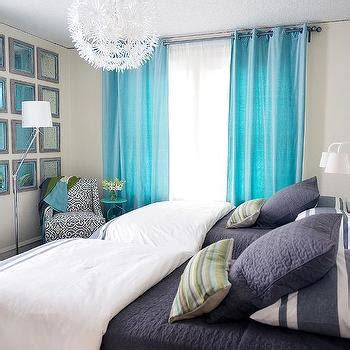 turquoise childrens bedroom gray grommet curtains contemporary bedroom wallpaper