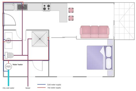 floor plan plumbing layout plumbing and piping plans solution conceptdraw com